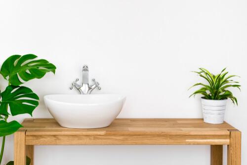 Badezimmer Waschtisch Holz unterfahrbar