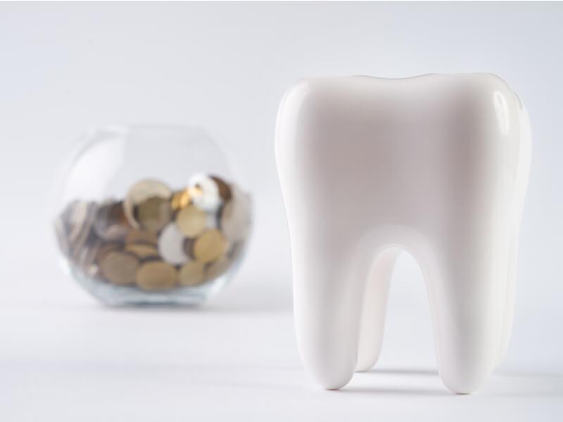 Modell eines Zahns mit Glas mit Münzen im Hintergrund