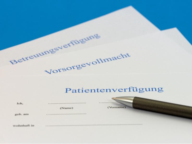 Formulare für Vorsorgevollmacht, Betreuungsverfügung und Patientenverfügung